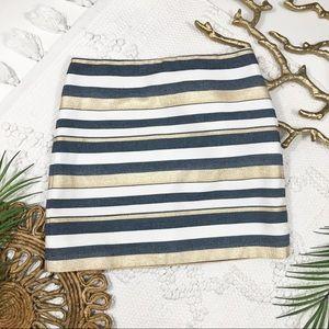 J. Crew Blue, White, & Gold Stripe Skirt